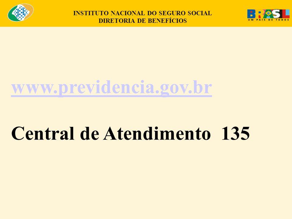 INSTITUTO NACIONAL DO SEGURO SOCIAL DIRETORIA DE BENEFÍCIOS www.previdencia.gov.br Central de Atendimento 135