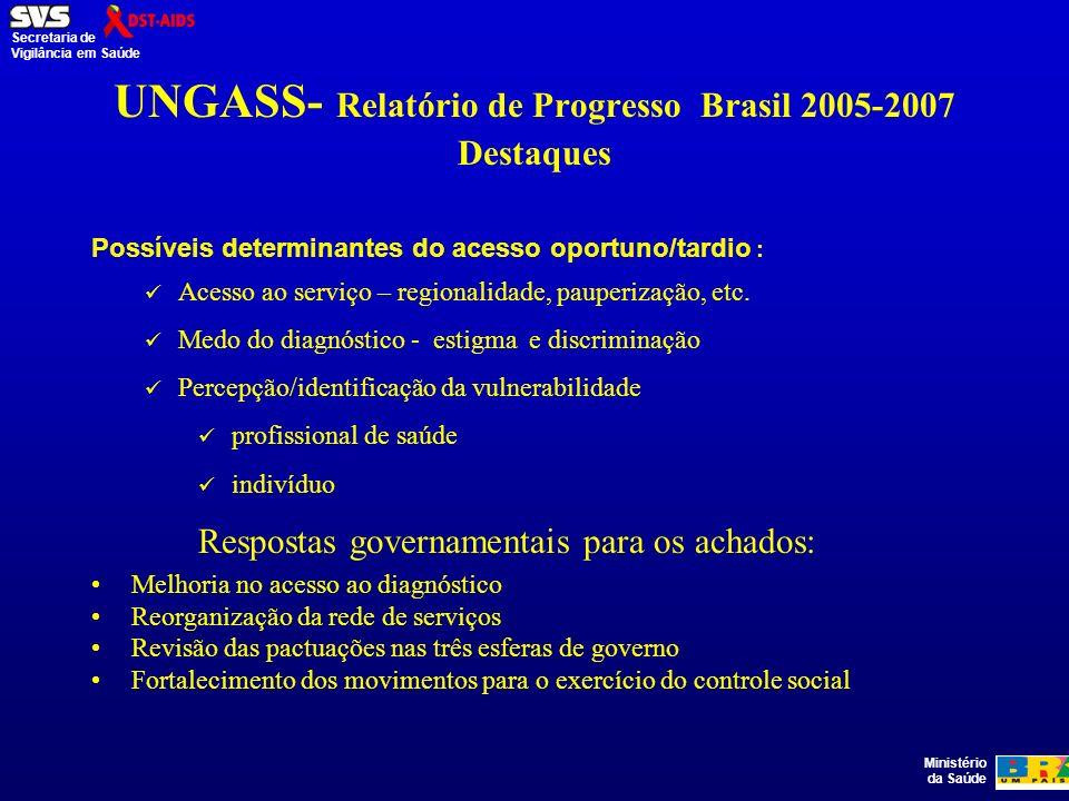 Ministério da Saúde Secretaria de Vigilância em Saúde UNGASS- Relatório de Progresso Brasil 2005-2007 Destaques Possíveis determinantes do acesso oportuno/tardio : Acesso ao serviço – regionalidade, pauperização, etc.