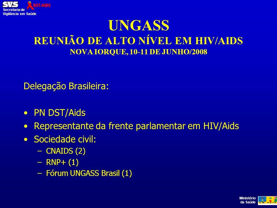 Ministério da Saúde Secretaria de Vigilância em Saúde UNGASS REUNIÃO DE ALTO NÍVEL EM HIV/AIDS NOVA IORQUE, 10-11 DE JUNHO/2008 Delegação Brasileira: PN DST/Aids Representante da frente parlamentar em HIV/Aids Sociedade civil: –CNAIDS (2) –RNP+ (1) –Fórum UNGASS Brasil (1)