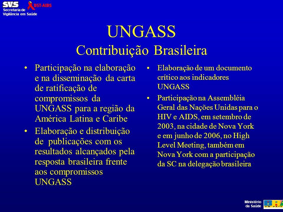 Ministério da Saúde Secretaria de Vigilância em Saúde UNGASS Contribuição Brasileira Participação na elaboração e na disseminação da carta de ratificação de compromissos da UNGASS para a região da América Latina e Caribe Elaboração e distribuição de publicações com os resultados alcançados pela resposta brasileira frente aos compromissos UNGASS Elaboração de um documento crítico aos indicadores UNGASS Participação na Assembléia Geral das Nações Unidas para o HIV e AIDS, em setembro de 2003, na cidade de Nova York e em junho de 2006, no High Level Meeting, também em Nova York com a participação da SC na delegação brasileira