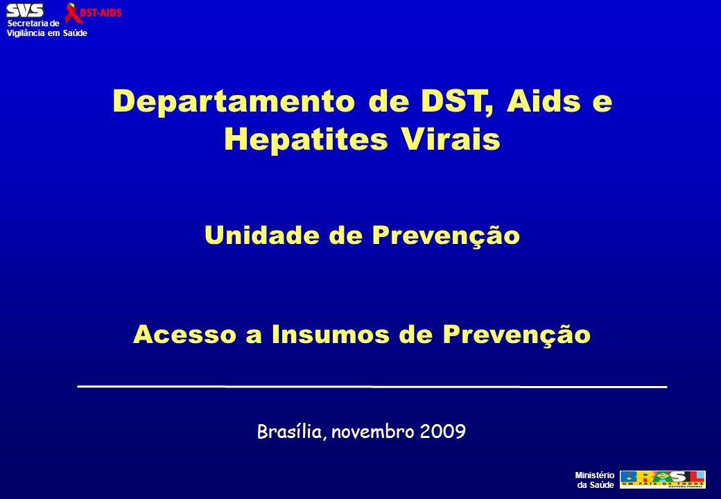 Ministério da Saúde Secretaria de Vigilância em Saúde Departamento de DST, Aids e Hepatites Virais Unidade de Prevenção Acesso a Insumos de Prevenção