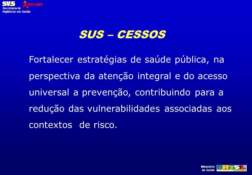 Ministério da Saúde Secretaria de Vigilância em Saúde Fortalecer estratégias de saúde pública, na perspectiva da atenção integral e do acesso universa