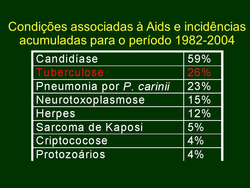 Condições associadas à Aids e incidências acumuladas para o período 1982-2004