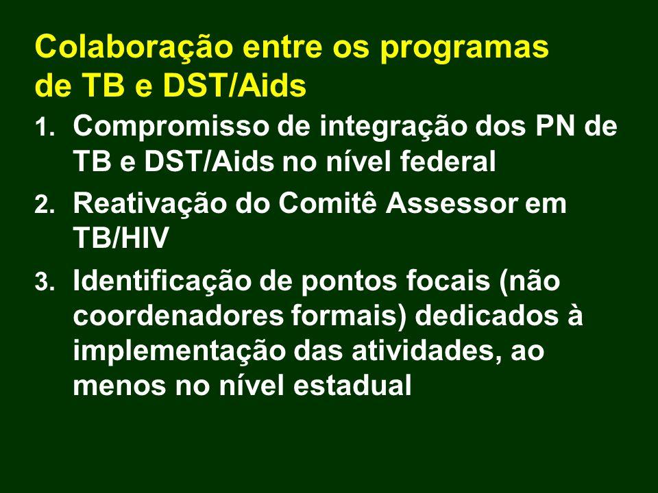 Colaboração entre os programas de TB e DST/Aids 1. Compromisso de integração dos PN de TB e DST/Aids no nível federal 2. Reativação do Comitê Assessor