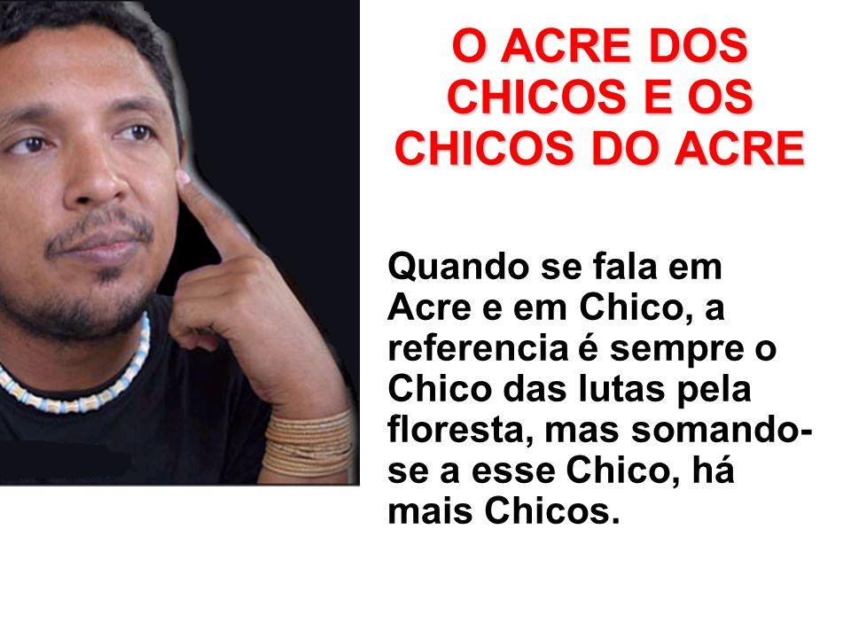 O ACRE DOS CHICOS E OS CHICOS DO ACRE Quando se fala em Acre e em Chico, a referencia é sempre o Chico das lutas pela floresta, mas somando- se a esse