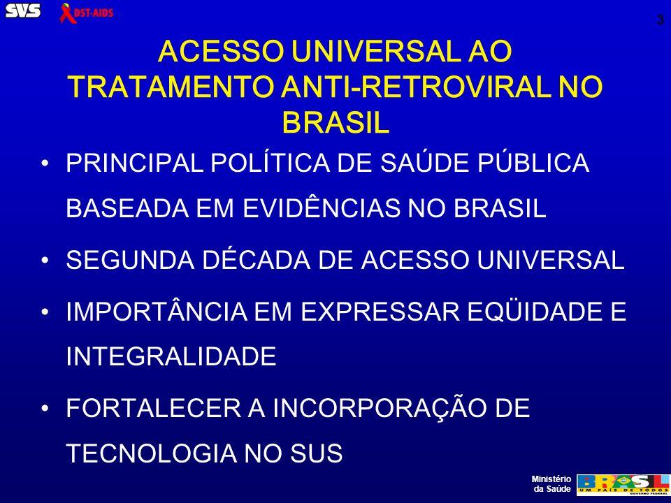 Ministério da Saúde 3 ACESSO UNIVERSAL AO TRATAMENTO ANTI-RETROVIRAL NO BRASIL PRINCIPAL POLÍTICA DE SAÚDE PÚBLICA BASEADA EM EVIDÊNCIAS NO BRASIL SEGUNDA DÉCADA DE ACESSO UNIVERSAL IMPORTÂNCIA EM EXPRESSAR EQÜIDADE E INTEGRALIDADE FORTALECER A INCORPORAÇÃO DE TECNOLOGIA NO SUS