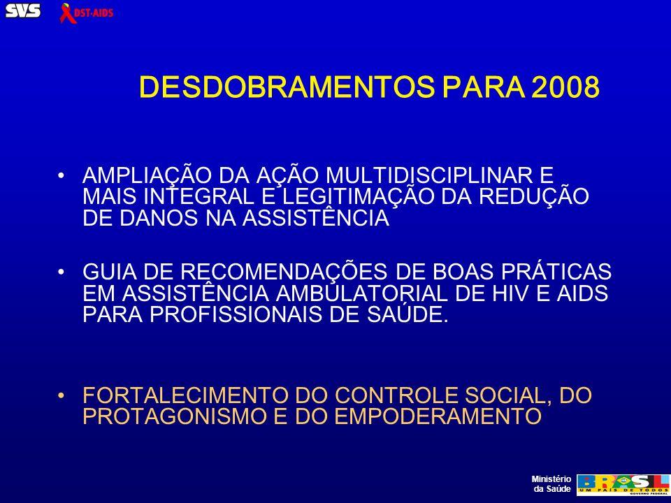 Ministério da Saúde DESDOBRAMENTOS PARA 2008 AMPLIAÇÃO DA AÇÃO MULTIDISCIPLINAR E MAIS INTEGRAL E LEGITIMAÇÃO DA REDUÇÃO DE DANOS NA ASSISTÊNCIA GUIA DE RECOMENDAÇÕES DE BOAS PRÁTICAS EM ASSISTÊNCIA AMBULATORIAL DE HIV E AIDS PARA PROFISSIONAIS DE SAÚDE.