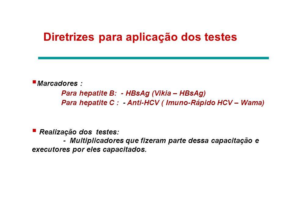 Diretrizes para aplicação dos testes Marcadores : Para hepatite B: - HBsAg (Vikia – HBsAg) Para hepatite C : - Anti-HCV ( Imuno-Rápido HCV – Wama) Rea