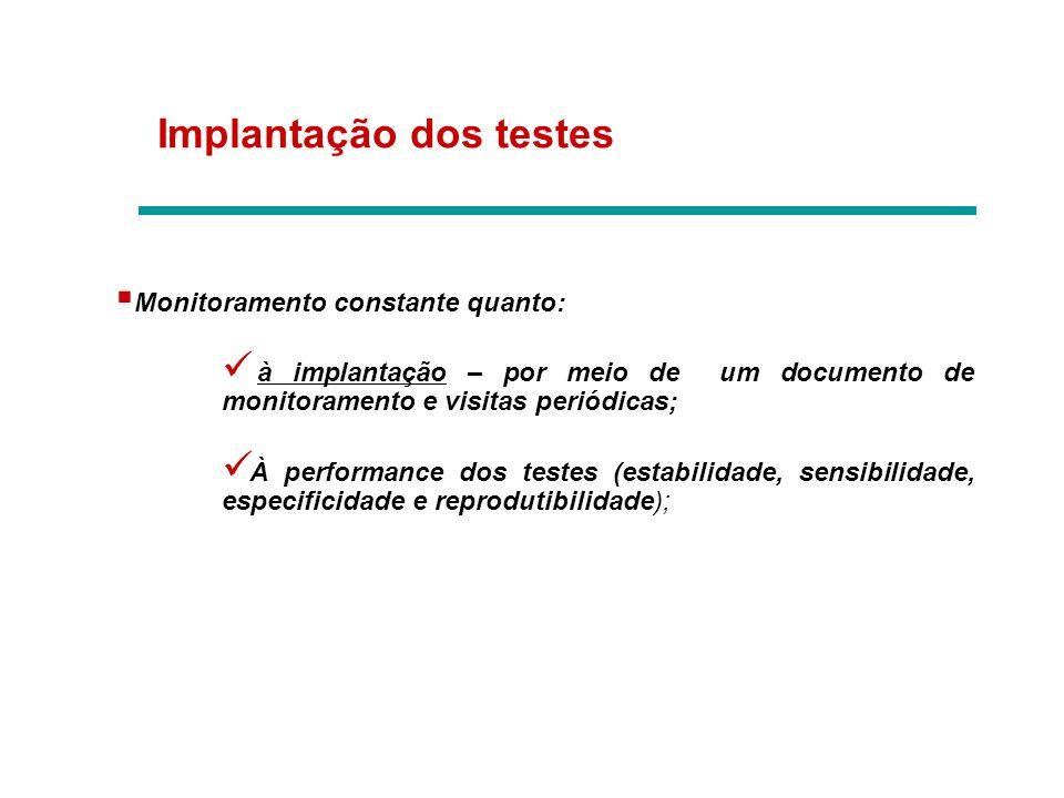 Implantação dos testes Monitoramento constante quanto: à implantação – por meio de um documento de monitoramento e visitas periódicas; À performance d