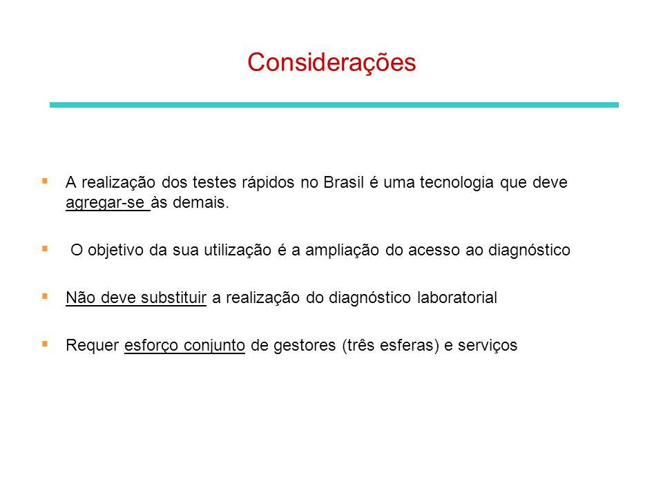 Considerações A realização dos testes rápidos no Brasil é uma tecnologia que deve agregar-se às demais. O objetivo da sua utilização é a ampliação do