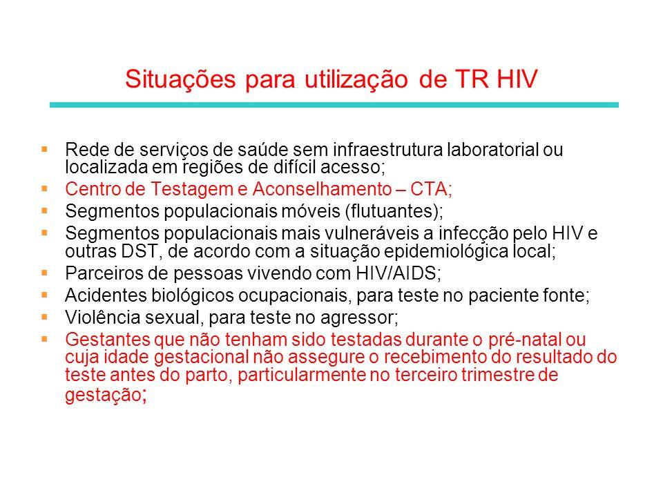 Situações para utilização de TR HIV Rede de serviços de saúde sem infraestrutura laboratorial ou localizada em regiões de difícil acesso; Centro de Te
