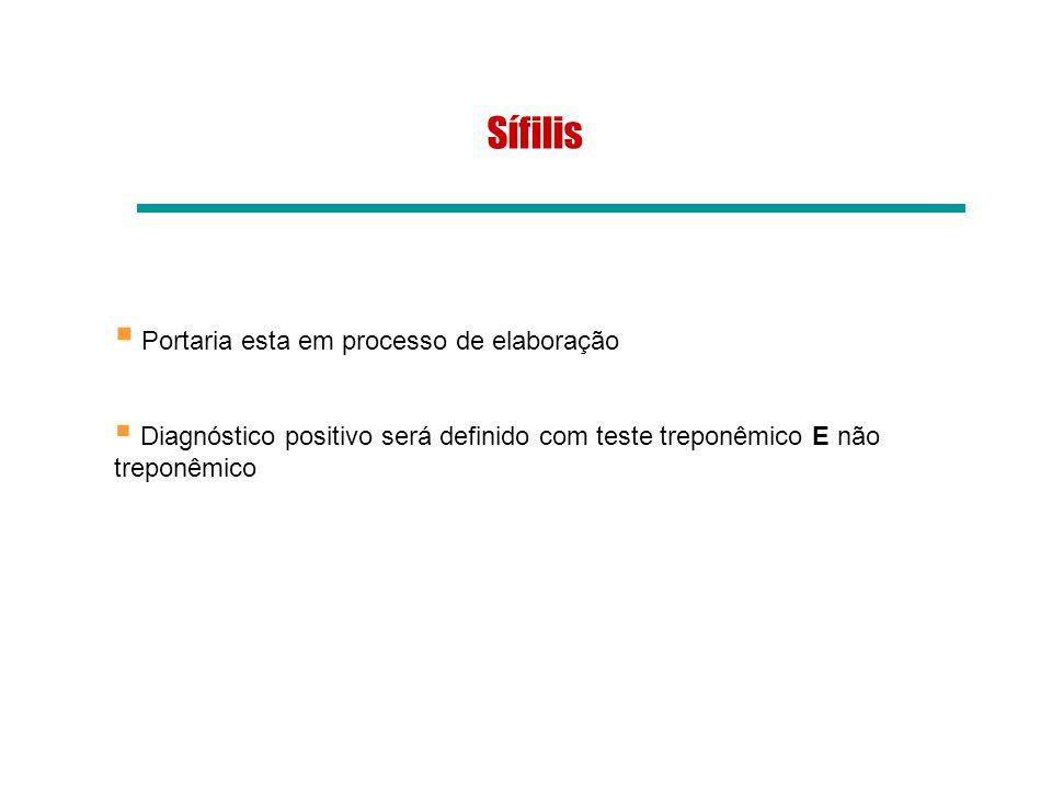 Sífilis Portaria esta em processo de elaboração Diagnóstico positivo será definido com teste treponêmico E não treponêmico