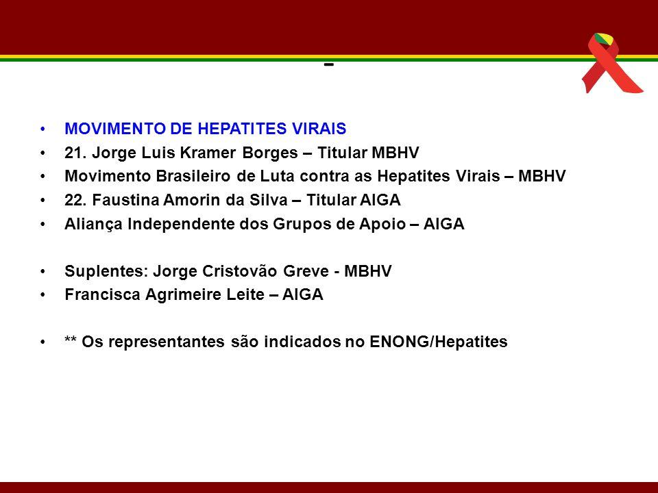 - MOVIMENTO DE HEPATITES VIRAIS 21. Jorge Luis Kramer Borges – Titular MBHV Movimento Brasileiro de Luta contra as Hepatites Virais – MBHV 22. Faustin