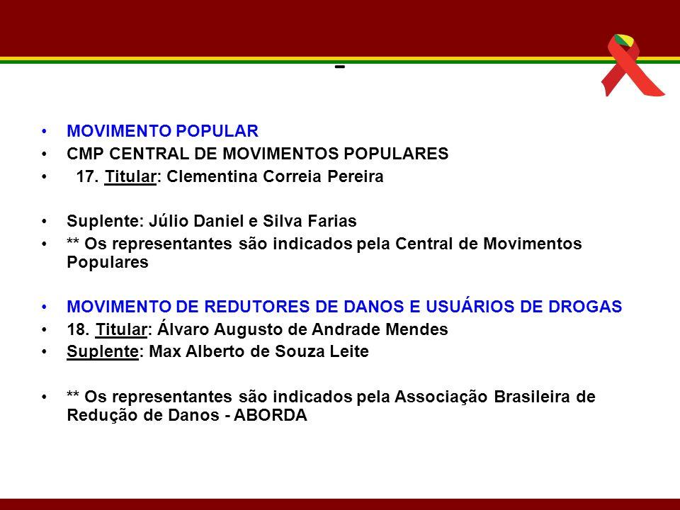 - MOVIMENTO POPULAR CMP CENTRAL DE MOVIMENTOS POPULARES 17. Titular: Clementina Correia Pereira Suplente: Júlio Daniel e Silva Farias ** Os representa