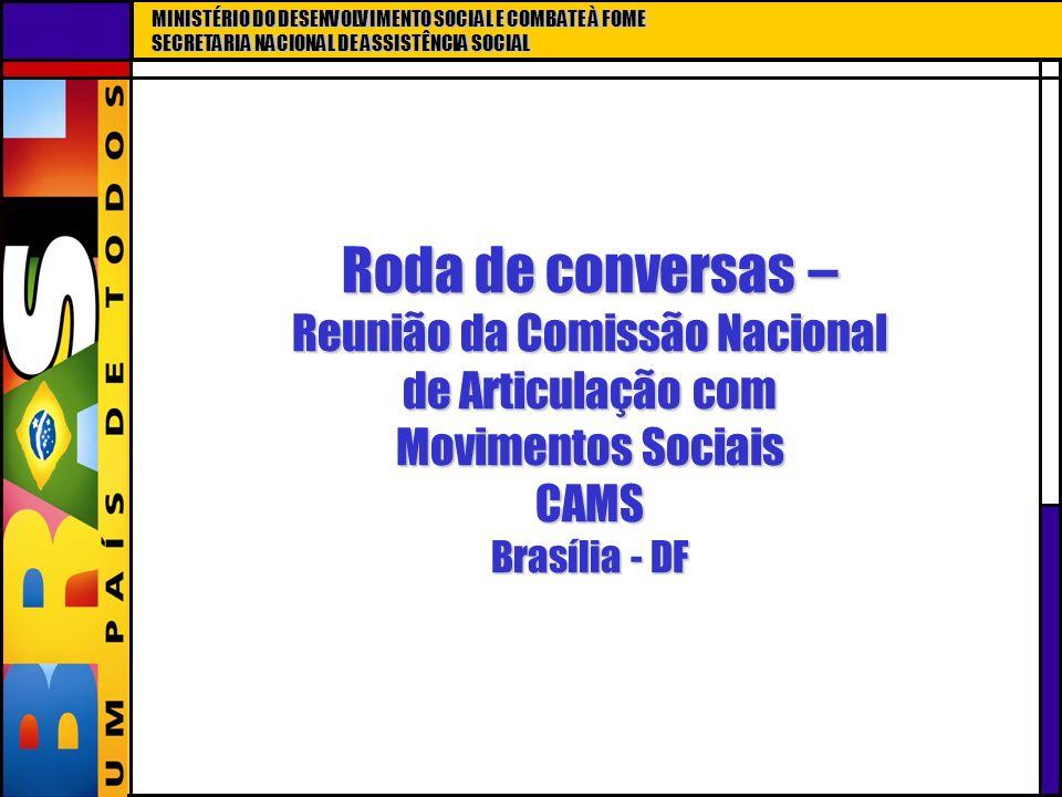 MINISTÉRIO DO DESENVOLVIMENTO SOCIAL E COMBATE À FOME SECRETARIA NACIONAL DE ASSISTÊNCIA SOCIAL Roda de conversas – Reunião da Comissão Nacional de Ar