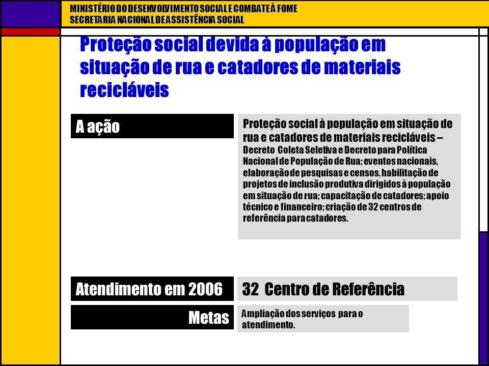 MINISTÉRIO DO DESENVOLVIMENTO SOCIAL E COMBATE À FOME SECRETARIA NACIONAL DE ASSISTÊNCIA SOCIAL Proteção social devida à população em situação de rua