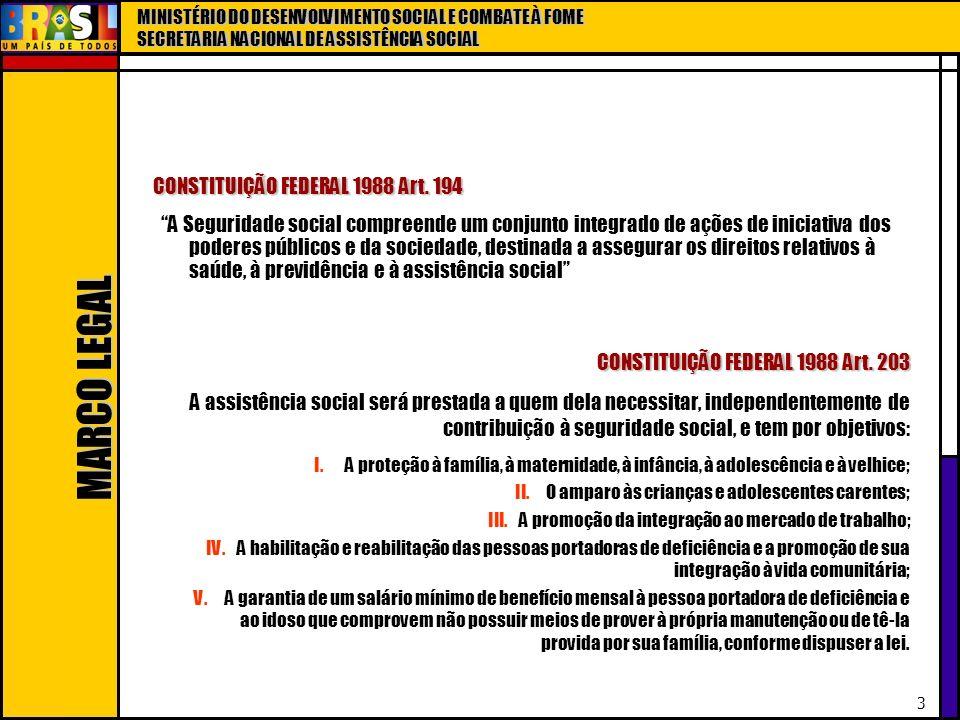 MINISTÉRIO DO DESENVOLVIMENTO SOCIAL E COMBATE À FOME SECRETARIA NACIONAL DE ASSISTÊNCIA SOCIAL 3 A Seguridade social compreende um conjunto integrado