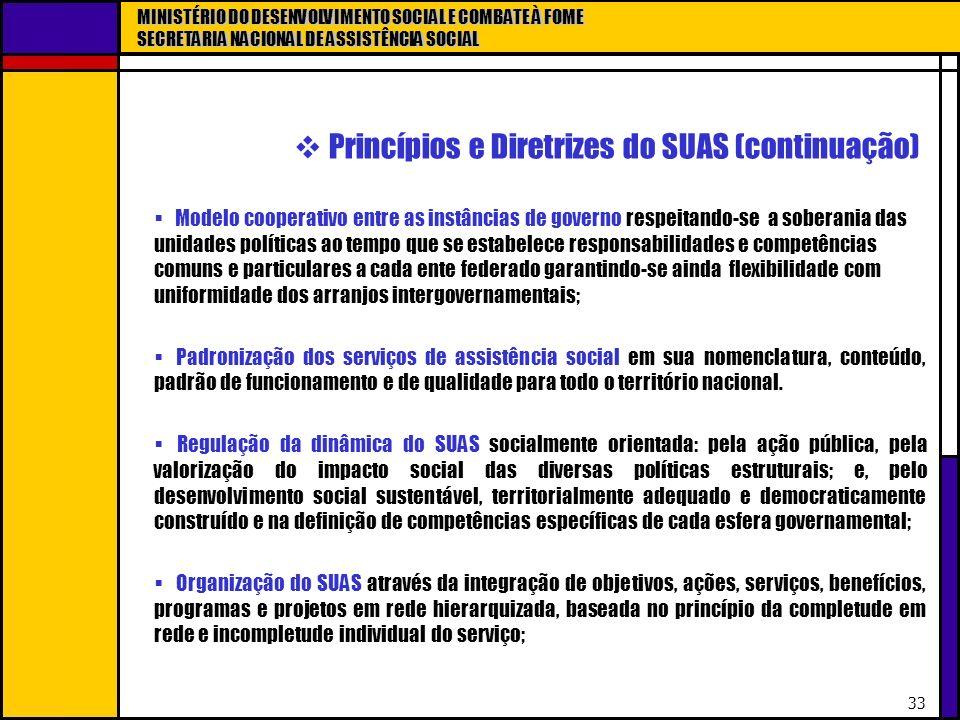 MINISTÉRIO DO DESENVOLVIMENTO SOCIAL E COMBATE À FOME SECRETARIA NACIONAL DE ASSISTÊNCIA SOCIAL 33 Princípios e Diretrizes do SUAS (continuação) Model