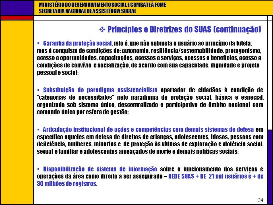 MINISTÉRIO DO DESENVOLVIMENTO SOCIAL E COMBATE À FOME SECRETARIA NACIONAL DE ASSISTÊNCIA SOCIAL 34 Princípios e Diretrizes do SUAS (continuação) Garan