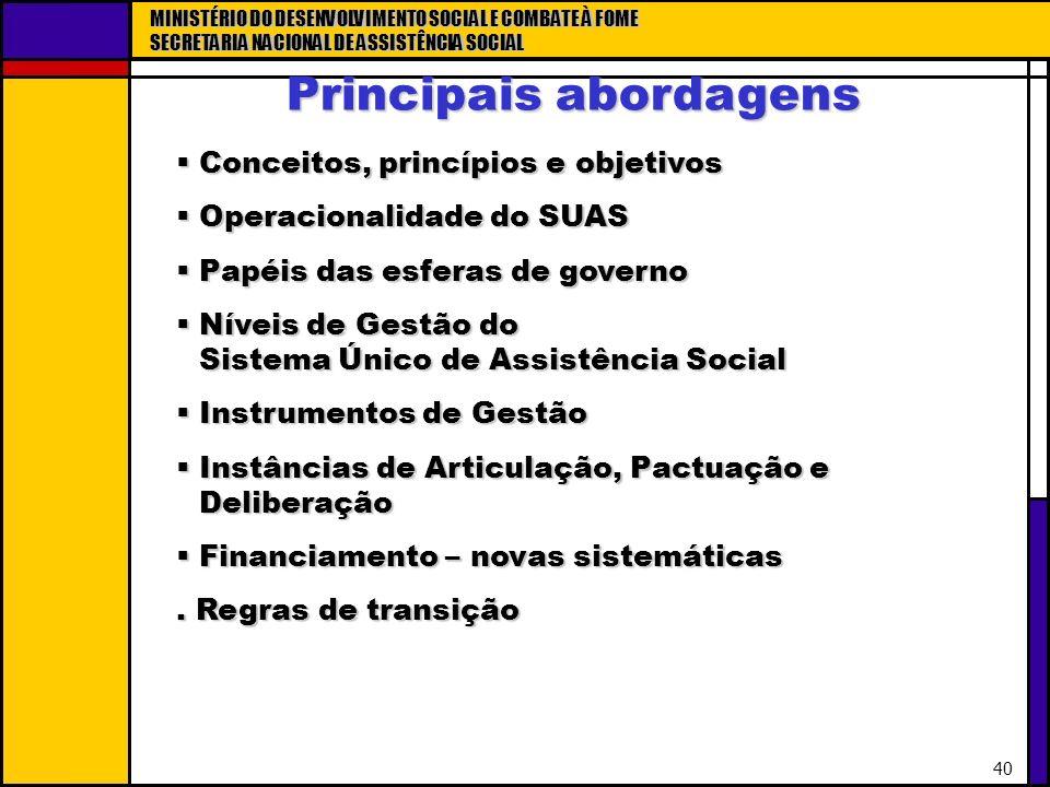 MINISTÉRIO DO DESENVOLVIMENTO SOCIAL E COMBATE À FOME SECRETARIA NACIONAL DE ASSISTÊNCIA SOCIAL 40 Conceitos, princípios e objetivos Conceitos, princí