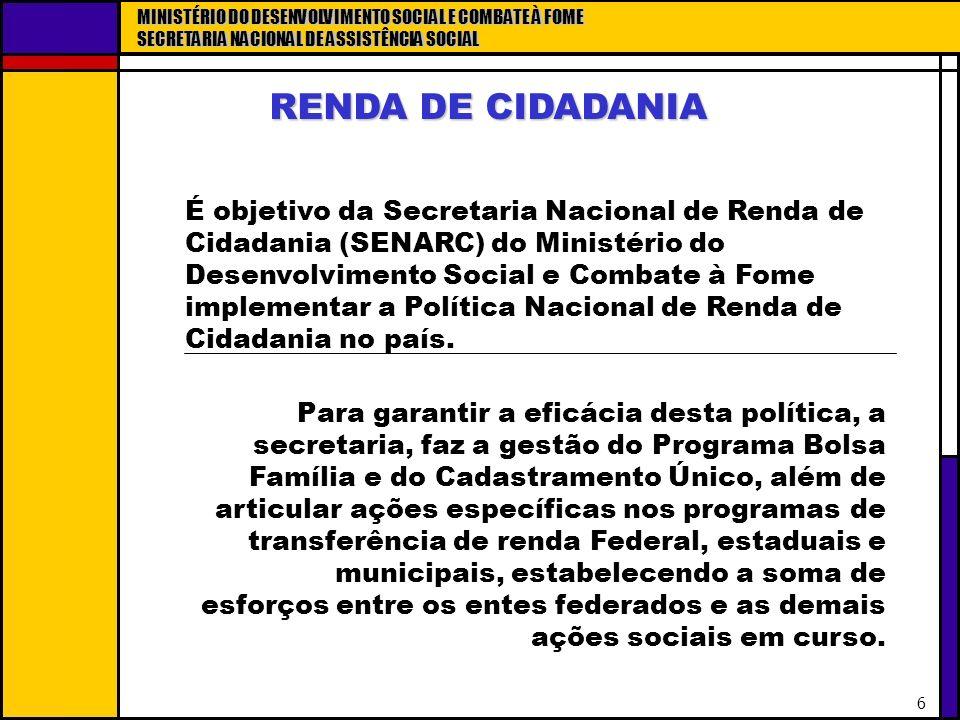 MINISTÉRIO DO DESENVOLVIMENTO SOCIAL E COMBATE À FOME SECRETARIA NACIONAL DE ASSISTÊNCIA SOCIAL 6 RENDA DE CIDADANIA É objetivo da Secretaria Nacional