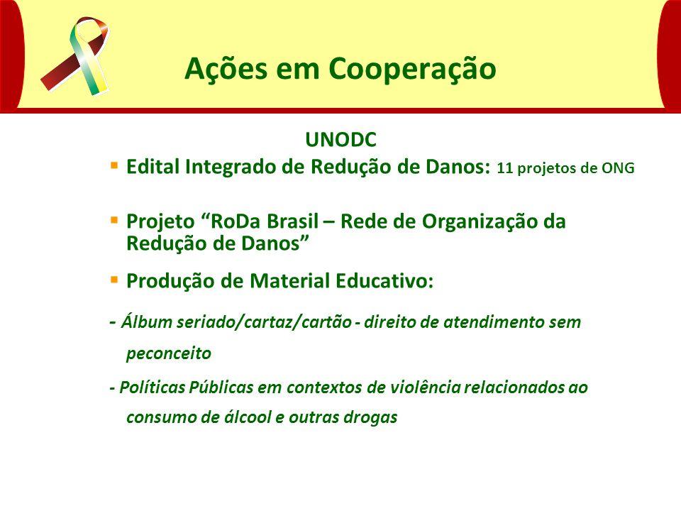 Ações em Cooperação UNODC Edital Integrado de Redução de Danos: 11 projetos de ONG Projeto RoDa Brasil – Rede de Organização da Redução de Danos Produ