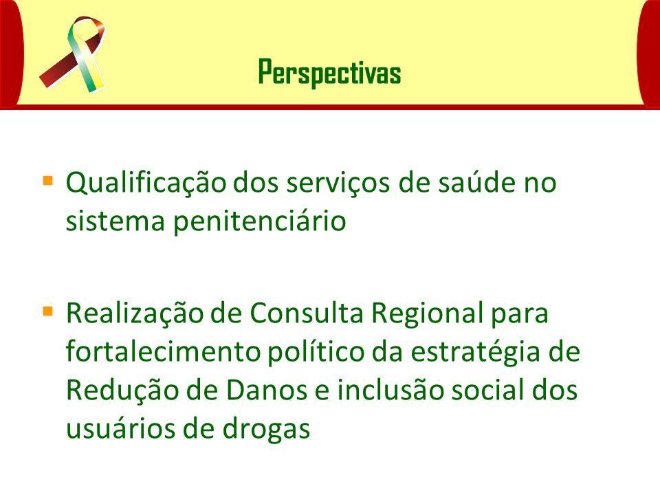 Perspectivas Qualificação dos serviços de saúde no sistema penitenciário Realização de Consulta Regional para fortalecimento político da estratégia de