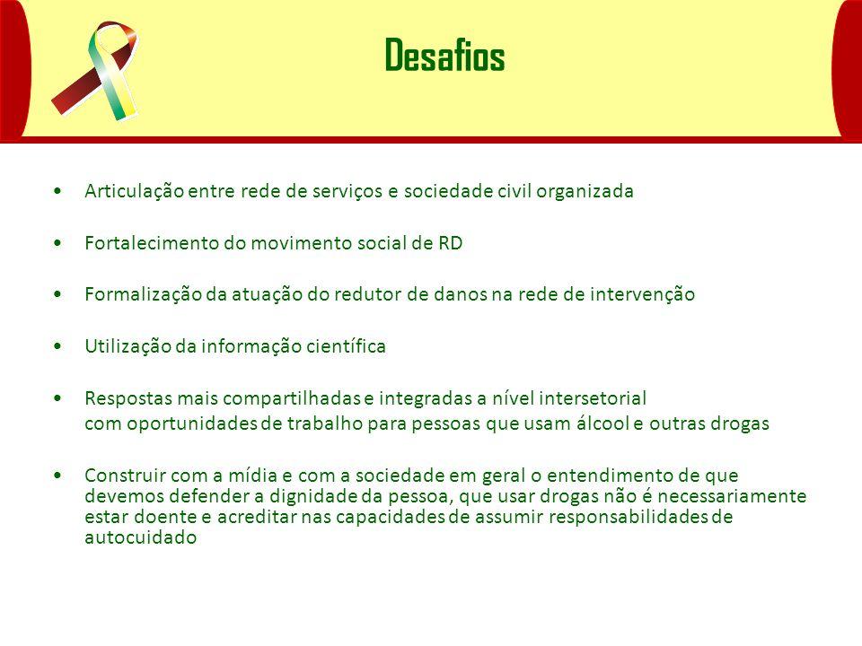 Desafios Articulação entre rede de serviços e sociedade civil organizada Fortalecimento do movimento social de RD Formalização da atuação do redutor d