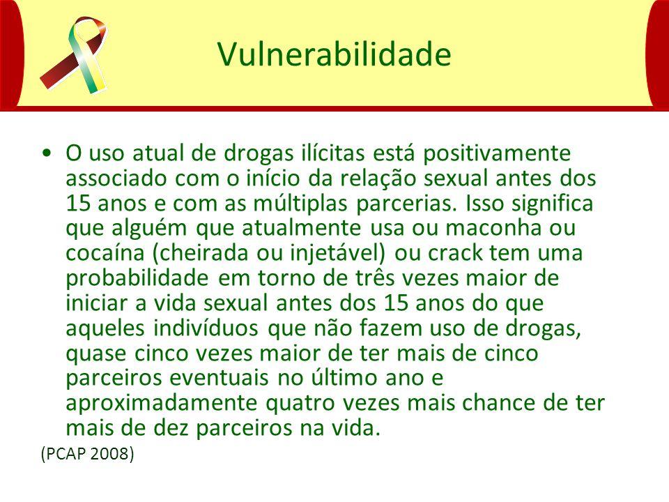 Vulnerabilidade O uso atual de drogas ilícitas está positivamente associado com o início da relação sexual antes dos 15 anos e com as múltiplas parcer