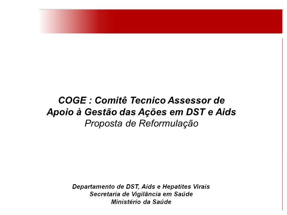 COGE : Comitê Tecnico Assessor de Apoio à Gestão das Ações em DST e Aids Instituída pelo então PN DST/Aids, em 2000, como instância consultiva.