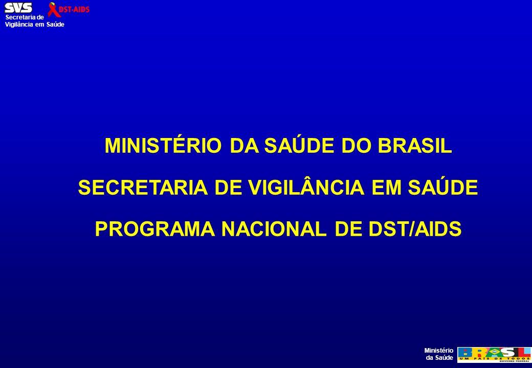 Ministério da Saúde Secretaria de Vigilância em Saúde MINISTÉRIO DA SAÚDE DO BRASIL SECRETARIA DE VIGILÂNCIA EM SAÚDE PROGRAMA NACIONAL DE DST/AIDS