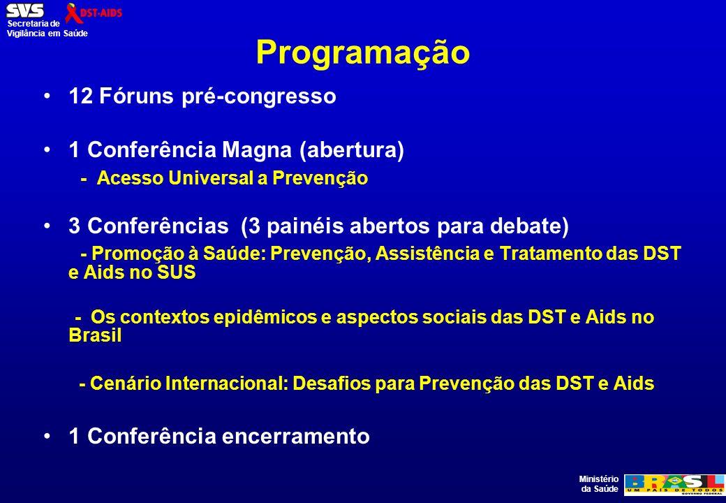 Ministério da Saúde Secretaria de Vigilância em Saúde Programação 12 Fóruns pré-congresso 1 Conferência Magna (abertura) - Acesso Universal a Prevençã