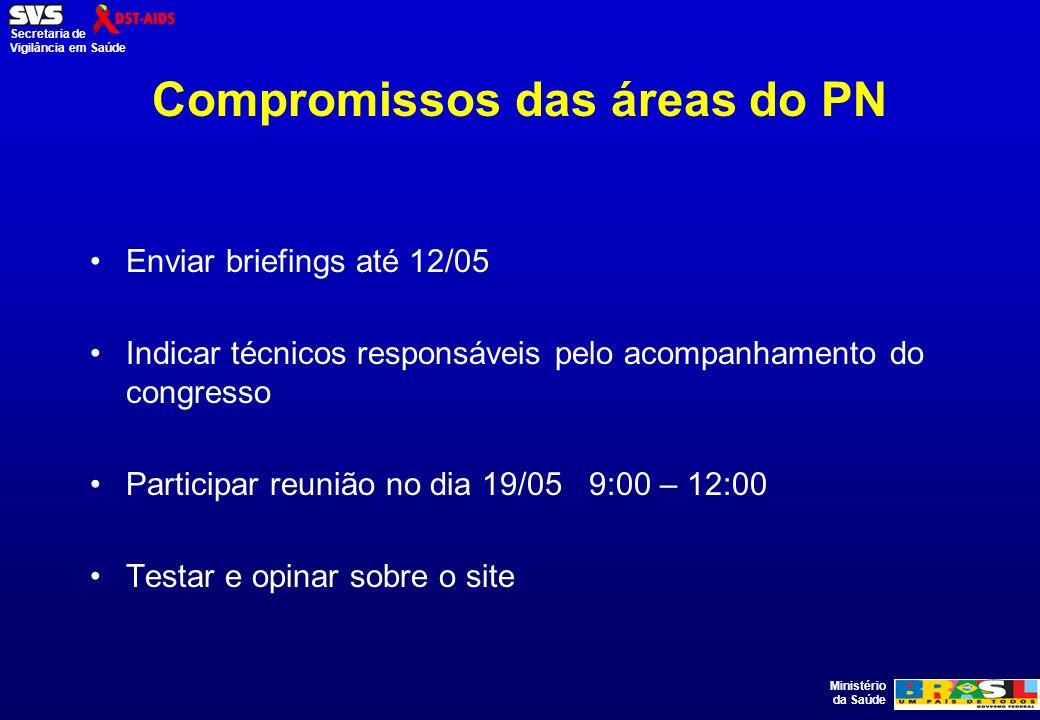 Ministério da Saúde Secretaria de Vigilância em Saúde Compromissos das áreas do PN Enviar briefings até 12/05 Indicar técnicos responsáveis pelo acomp