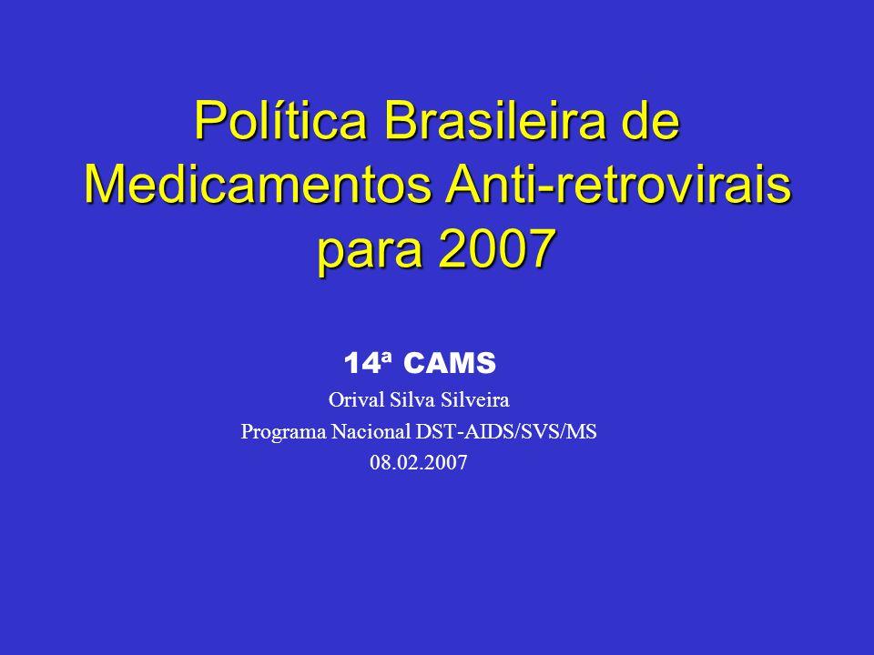 Política Brasileira de Medicamentos Anti-retrovirais para 2007 14ª CAMS Orival Silva Silveira Programa Nacional DST-AIDS/SVS/MS 08.02.2007