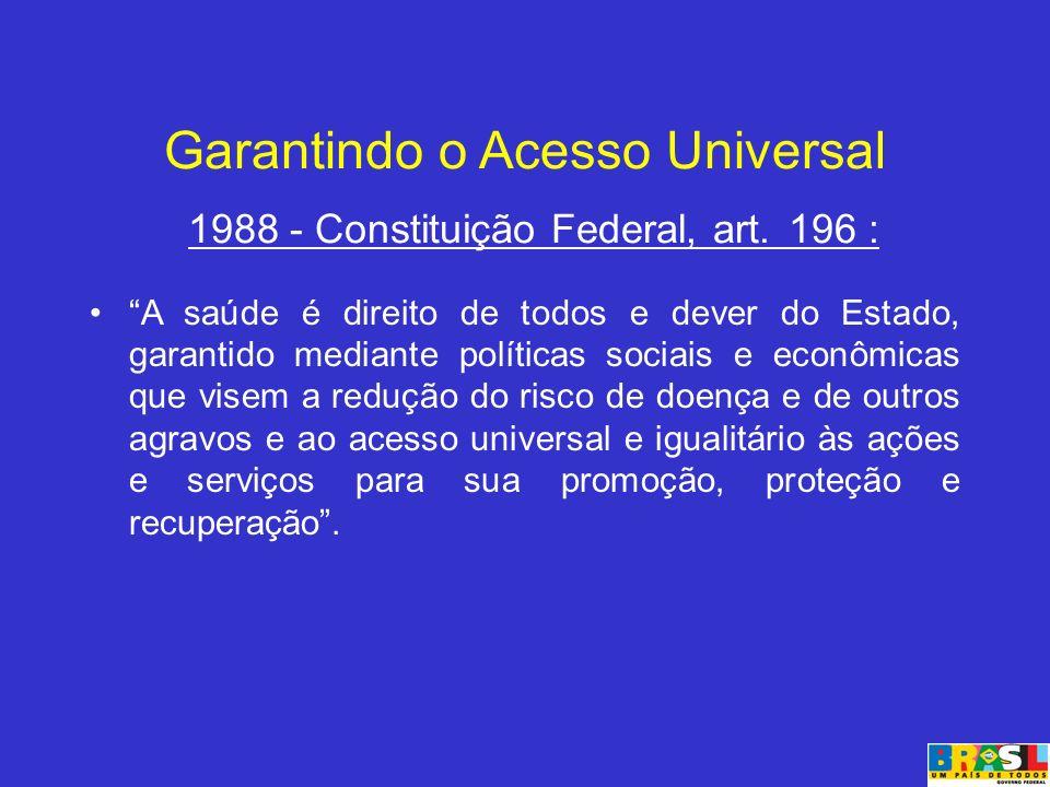 Garantindo o Acesso Universal 1988 - Constituição Federal, art. 196 : A saúde é direito de todos e dever do Estado, garantido mediante políticas socia