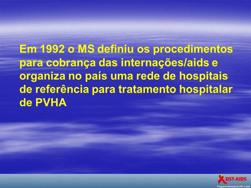 . Em 1992 o MS definiu os procedimentos para cobrança das internações/aids e organiza no país uma rede de hospitais de referência para tratamento hosp