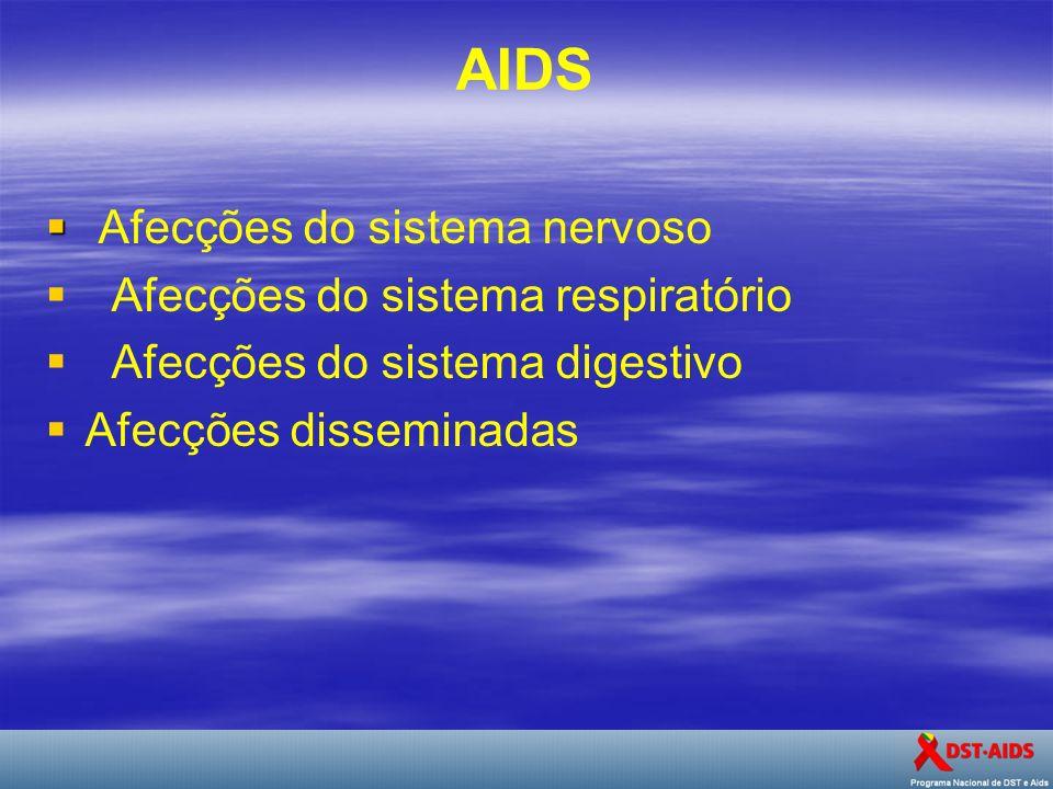 AIDS Afecções do sistema nervoso Afecções do sistema respiratório Afecções do sistema digestivo Afecções disseminadas