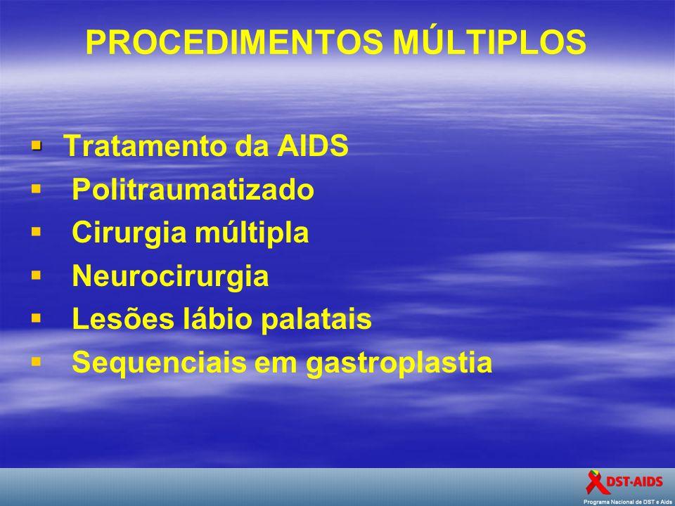 PROCEDIMENTOS MÚLTIPLOS Tratamento da AIDS Politraumatizado Cirurgia múltipla Neurocirurgia Lesões lábio palatais Sequenciais em gastroplastia