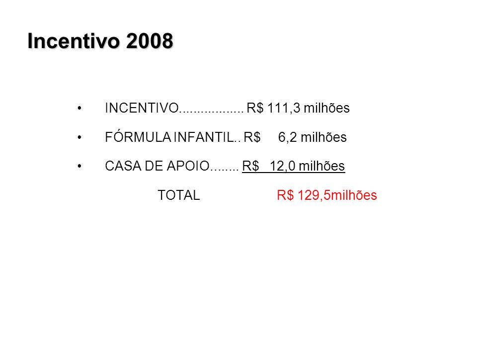 Incentivo 2008 INCENTIVO.................. R$ 111,3 milhões FÓRMULA INFANTIL..