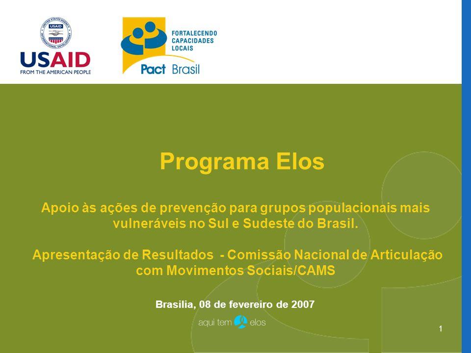 1 Programa Elos Apoio às ações de prevenção para grupos populacionais mais vulneráveis no Sul e Sudeste do Brasil. Apresentação de Resultados - Comiss