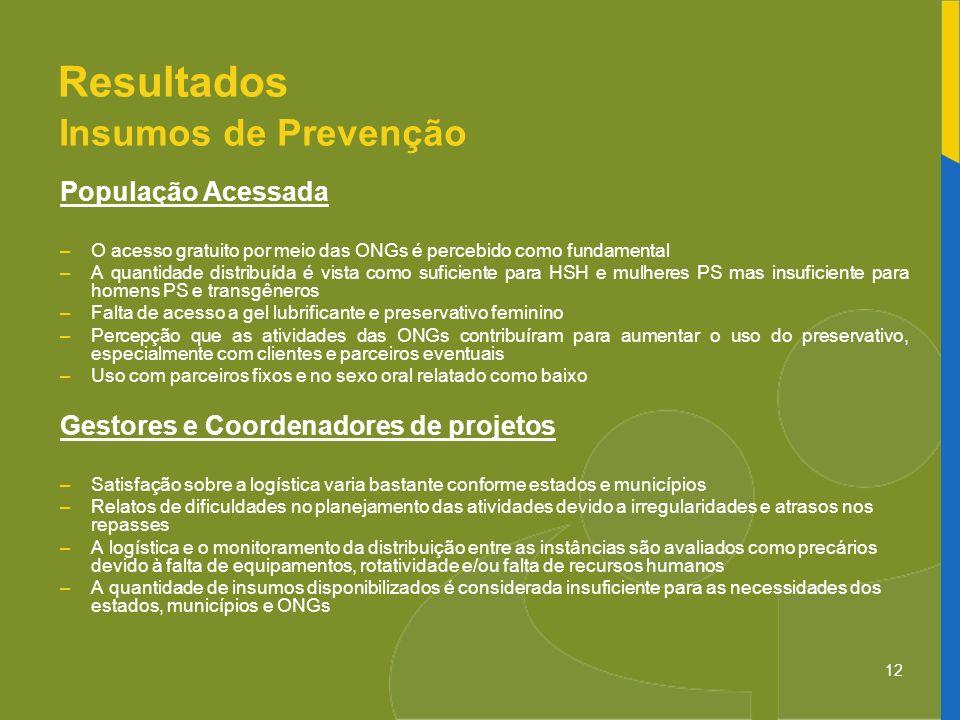 12 Resultados Insumos de Prevenção População Acessada –O acesso gratuito por meio das ONGs é percebido como fundamental –A quantidade distribuída é vi
