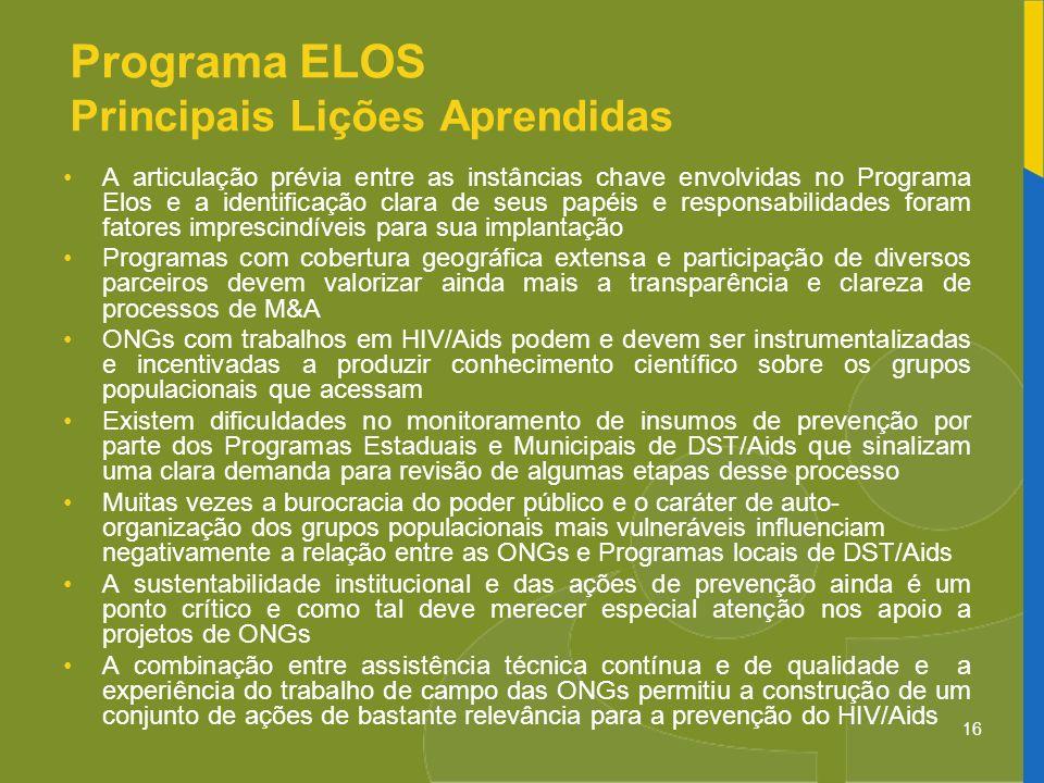 16 Programa ELOS Principais Lições Aprendidas A articulação prévia entre as instâncias chave envolvidas no Programa Elos e a identificação clara de se