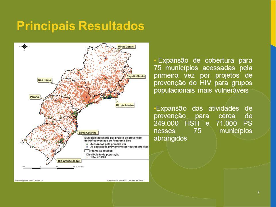 7 Expansão de cobertura para 75 municípios acessadas pela primeira vez por projetos de prevenção do HIV para grupos populacionais mais vulneráveis Exp