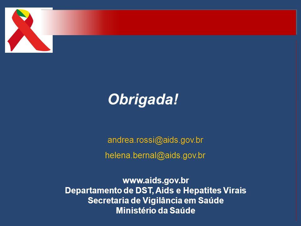 www.aids.gov.br Departamento de DST, Aids e Hepatites Virais Secretaria de Vigilância em Saúde Ministério da Saúde Obrigada! andrea.rossi@aids.gov.br