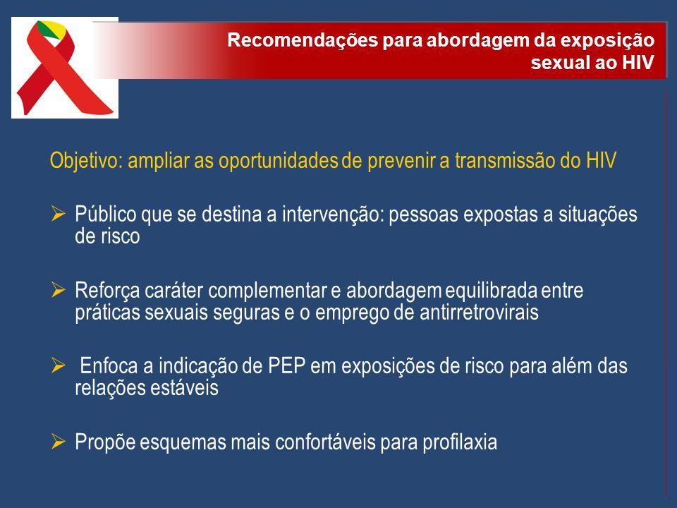 Objetivo: ampliar as oportunidades de prevenir a transmissão do HIV Público que se destina a intervenção: pessoas expostas a situações de risco Reforç