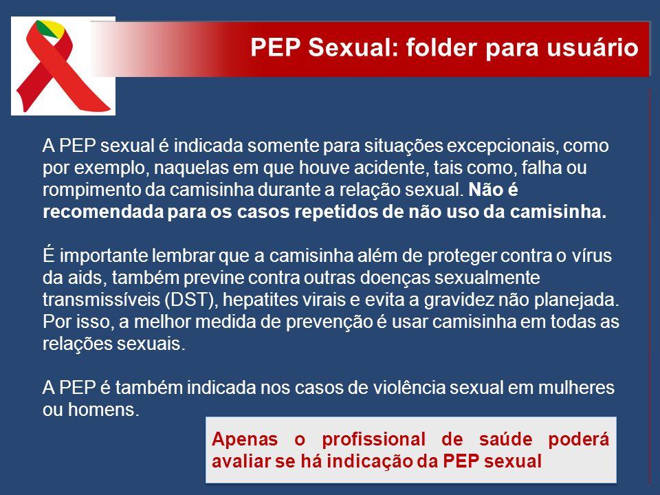 A PEP sexual é indicada somente para situações excepcionais, como por exemplo, naquelas em que houve acidente, tais como, falha ou rompimento da camis