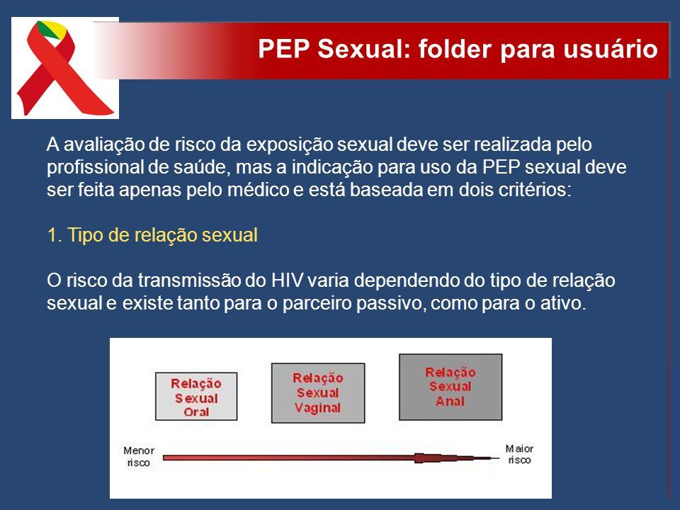 PEP Sexual: folder para usuário A avaliação de risco da exposição sexual deve ser realizada pelo profissional de saúde, mas a indicação para uso da PE