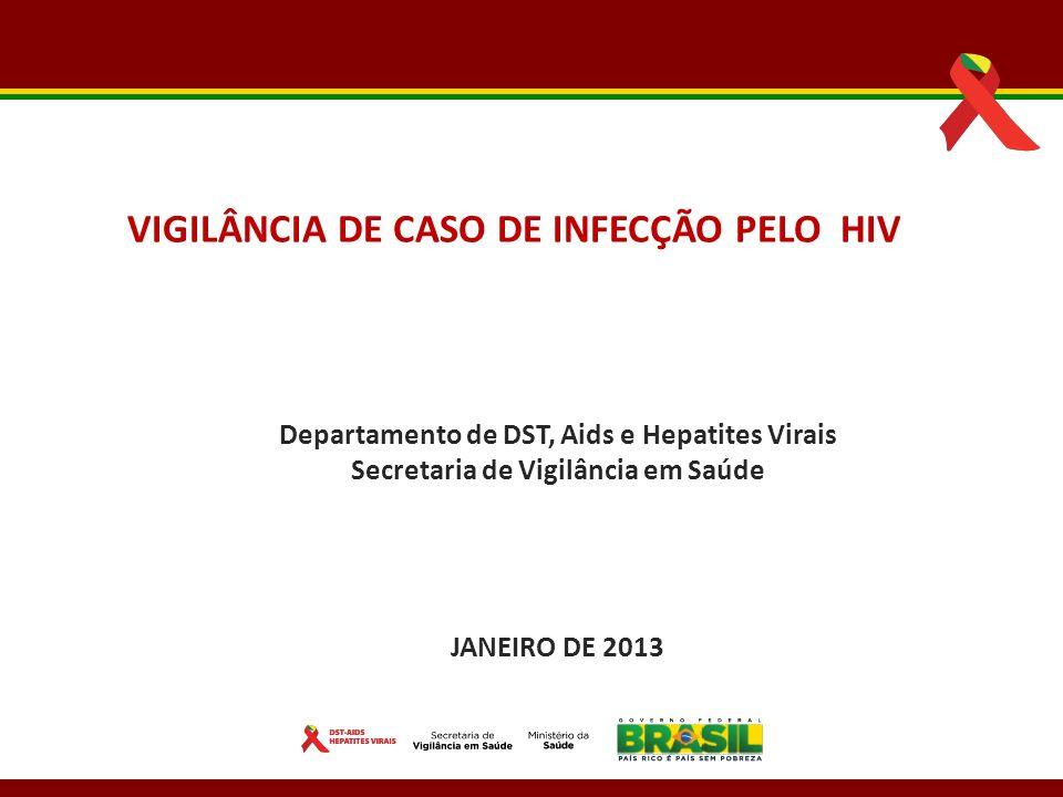 Departamento de DST, Aids e Hepatites Virais Secretaria de Vigilância em Saúde JANEIRO DE 2013 VIGILÂNCIA DE CASO DE INFECÇÃO PELO HIV
