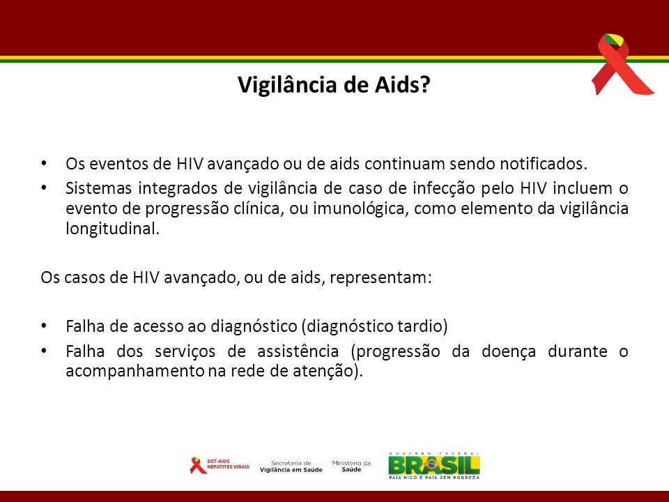 Vigilância de Aids? Os eventos de HIV avançado ou de aids continuam sendo notificados. Sistemas integrados de vigilância de caso de infecção pelo HIV
