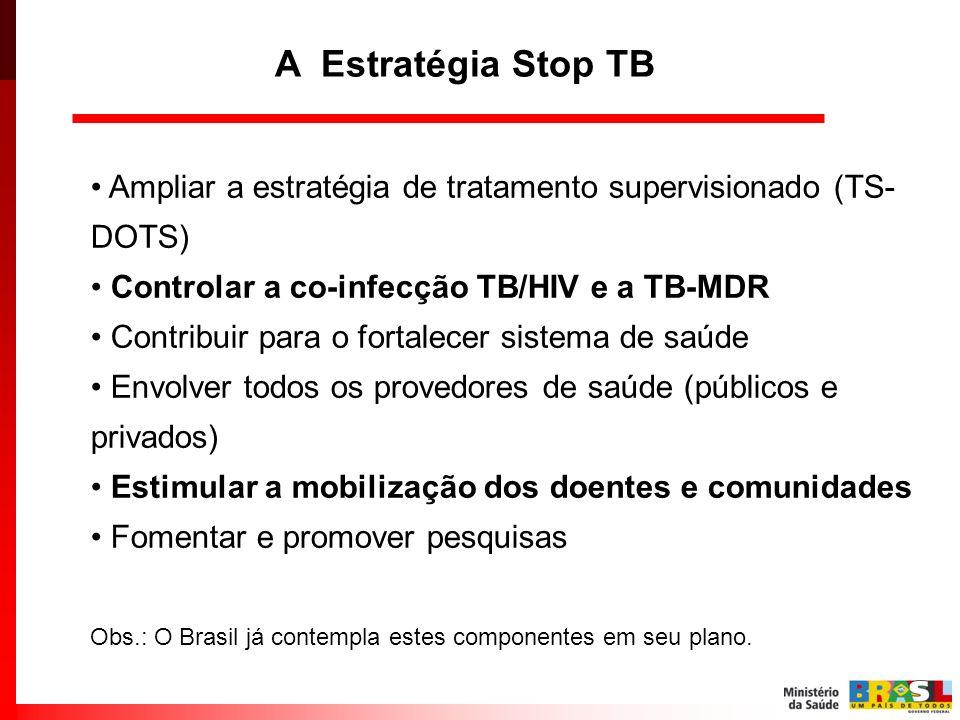 Ampliar a estratégia de tratamento supervisionado (TS- DOTS) Controlar a co-infecção TB/HIV e a TB-MDR Contribuir para o fortalecer sistema de saúde E